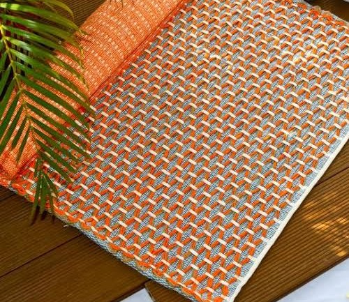 Orange hand made yoga mat